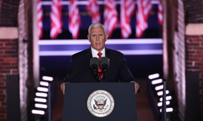 Vice President Mike Pence speaks during the third night of the Republican National Convention at Fort McHenry National Monument in Baltimore, Md., on Aug. 26, 2020. (Saul Loeb/AFP via Getty Images)