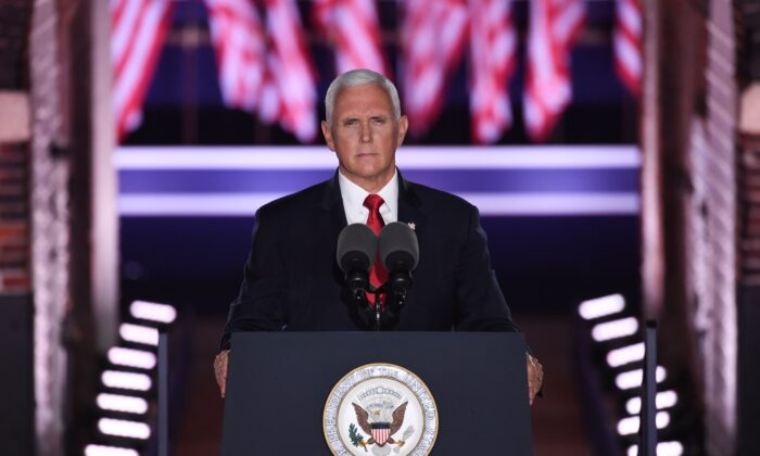 Vice President Mike Pence speaks during the third night of the Republican National Convention at Fort McHenry National Monument in Baltimore, Md., on Aug. 26, 2020. (Saul Loeb / AFP via Getty Images)