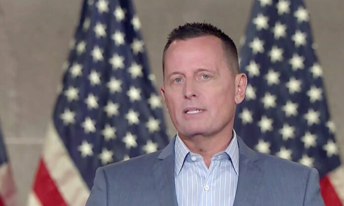 Former Acting Director of National Intelligence and current Republican National Committee senior advisor Richard Grenell addresses the virtual Republican National Convention on Aug. 26, 2020.   (Courtesy of the Committee on Arrangements for the 2020 Republican National Committee via Getty Images)