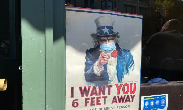 A pandemic-themed Uncle Sam poster is seen in San Francisco, Calif., on July 31, 2020. (Daniel Slim/AFP/Getty Images)