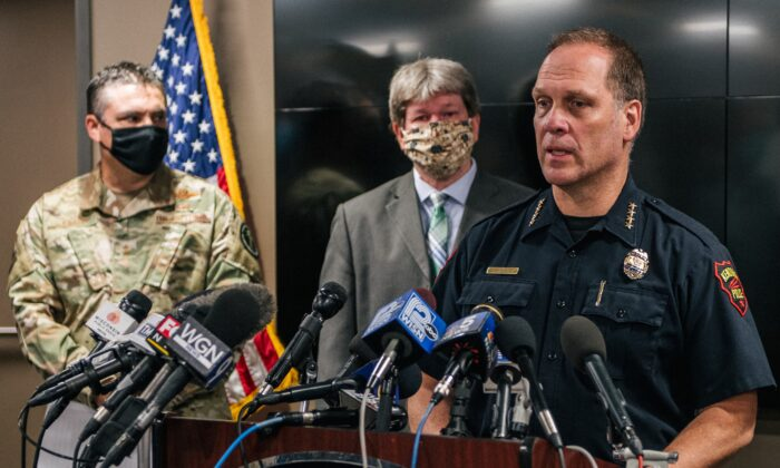 Police Chief Dan Miskinis speaks at a news conference in Kenosha, Wis., on Aug. 26, 2020. (Brandon Bell/Getty Images)