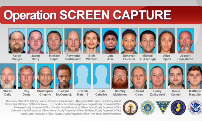 The alleged child sexual predators arrested in the sweep. (New Jersey Office of the Attorney General)