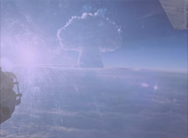 A mushroom cloud rises after the so-called Tsar Bomba was detonated