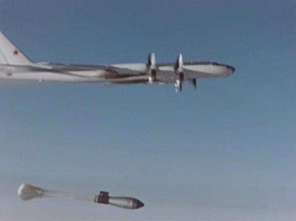 A plane drops the so-called Tsar Bomba in a test over the remote Novaya Zemlya archipelago