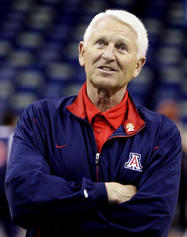 Arizona coach Lute Olson watches his team practice