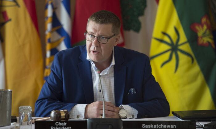 Saskatchewan Premier Scott Moe speaks during a meeting of Canada's premiers in Saskatoon on July 10, 2019. (Jonathan Hayward/The Canadian Press)