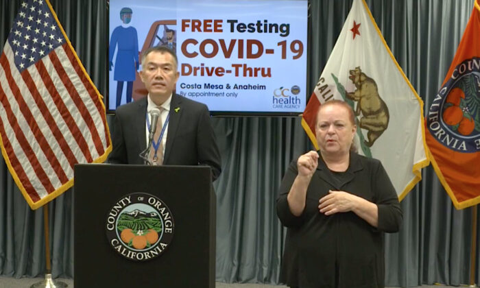 Orange County Health Care Agency Director Dr. Clayton Chau discusses his selection as county health officer at a press conference with a sign language interpreter in a screenshot taken from a livestream in Santa Ana, Calif., on Aug. 27, 2020. (Screenshot/OCGov/Facebook)