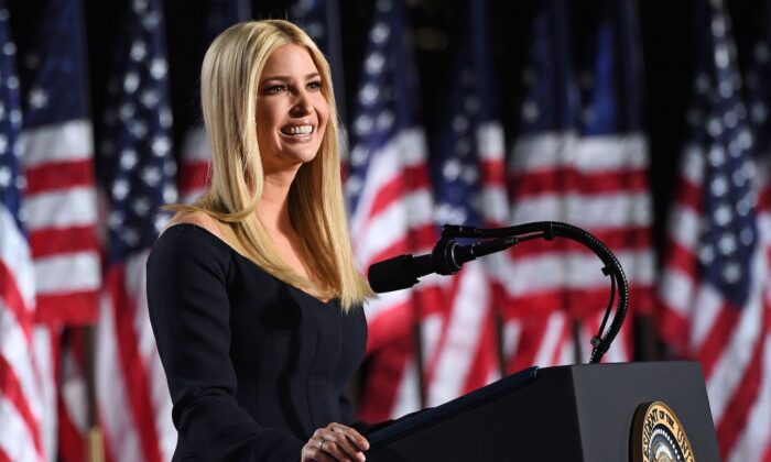 Ivanka Trump, daughter and Advisor to the President, speaks onstage ahead of President Donald Trump's acceptance speech for the Republican Party nomination for reelection during the final day of the Republican National Convention at the South Lawn of the White House in Washington, on Aug. 27, 2020. (Saul Loeb/AFP via Getty Images)