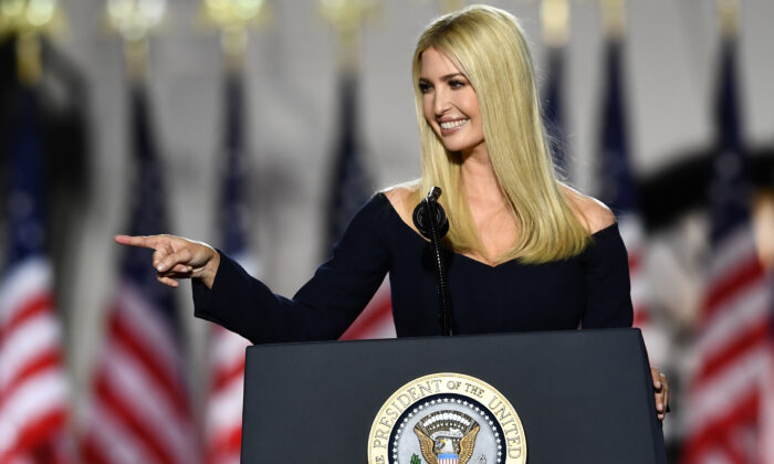 Ivanka Trump, daughter and Advisor to the US president, speaks during the final day of the Republican National Convention from the South Lawn of the White House in Washington, on Aug. 27, 2020. (Brendan Smialowski / AFP via Getty Images)