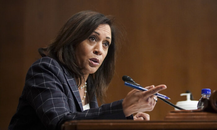 Sen. Kamala Harris (D-Calif.) speaks at a hearing at the Capitol Building in Washington on June 25, 2020. (Alexander Drago/Pool/Getty Images)