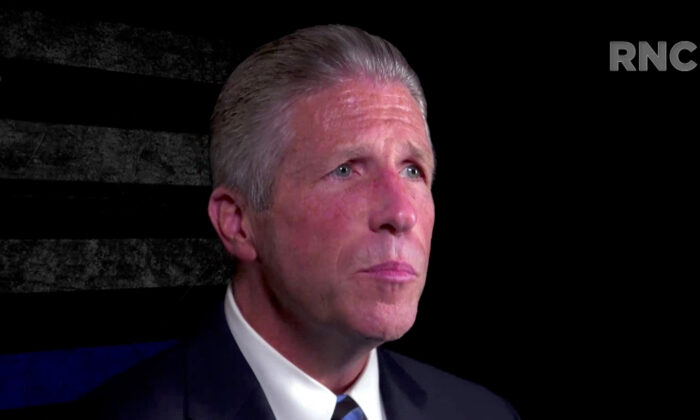 In this screenshot from the RNC's livestream of the 2020 Republican National Convention, Patrick Lynch, President of the Police Benevolent Association of the City of New York, addresses the virtual convention on Aug. 27, 2020. (Photo Courtesy of the Committee on Arrangements for the 2020 Republican National Committee via Getty Images)