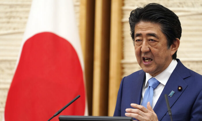 Japan's Prime Minister Shinzo Abe speaks during a press conference at his official residence in Tokyo on May 4, 2020. (Eugene Hoshiko, Pool/AP Photo)