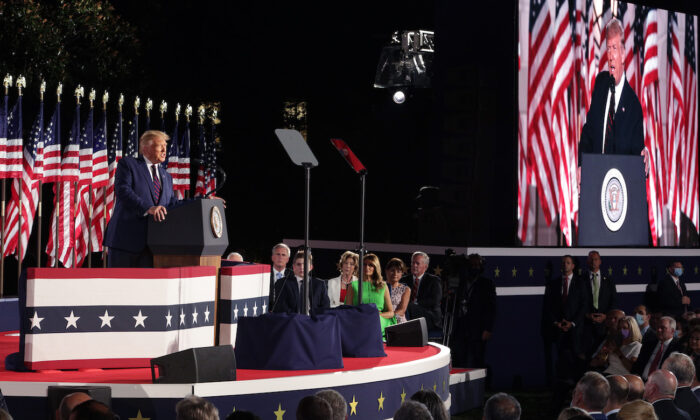 President Donald Trump delivers his acceptance speech for the Republican presidential nomination on the South Lawn of the White House in Washington on Aug. 27, 2020. (Alex Wong/Getty Images)