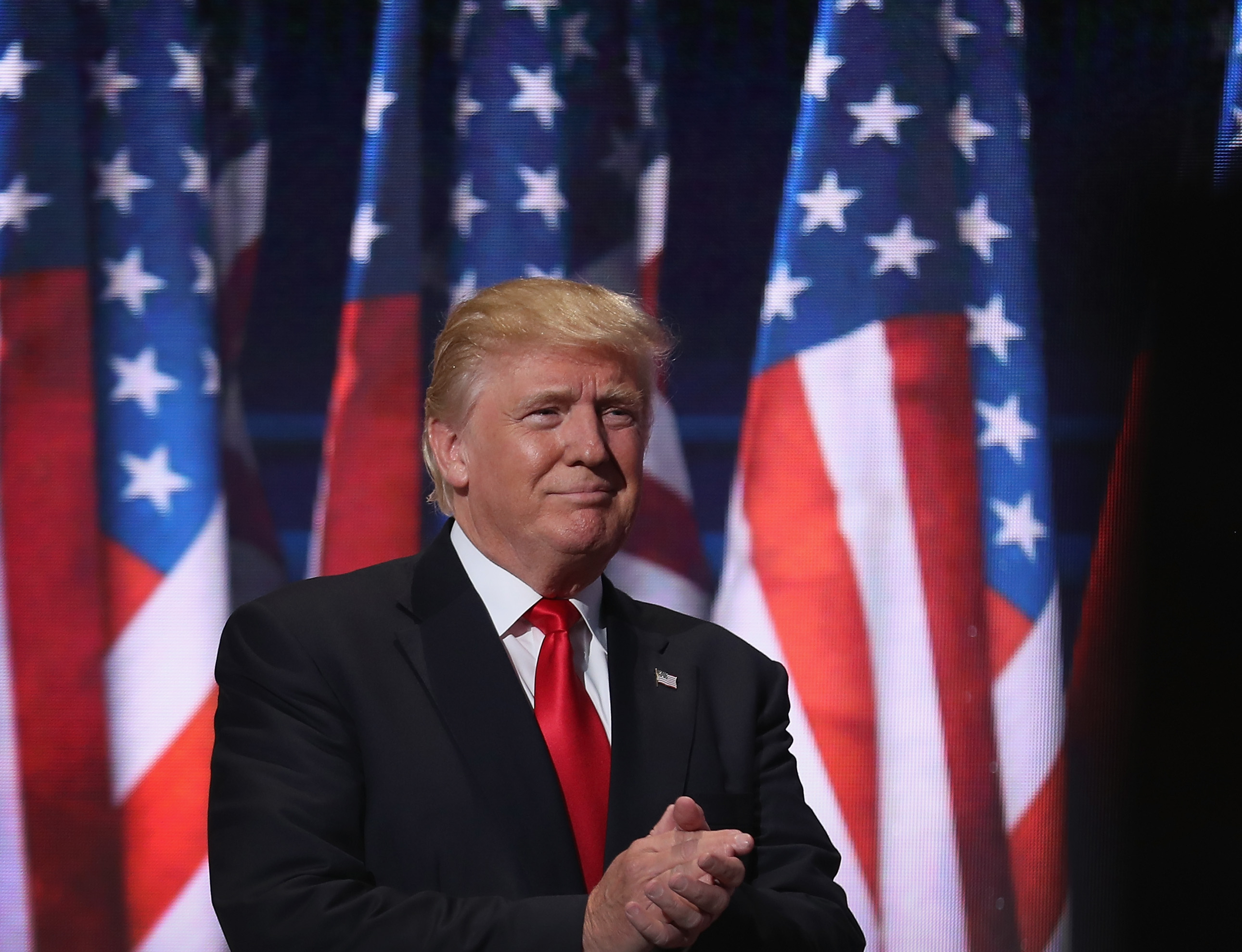 Donald Trump delivers a speech during the evening session on the fourth day of the Republican National Convention