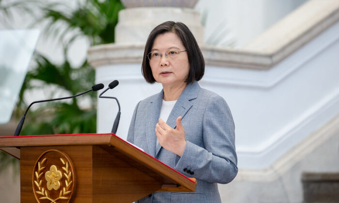 Taiwanese President Tsai Ing-wen speaks about U.S. exports of beef and pork to Taiwan in the Presidential Office Building in Taipei, Taiwan on Aug. 28, 2020. (Courtesy of the Office of the President, Republic of China - Taiwan)