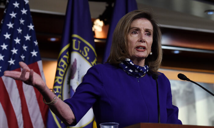 U.S. Speaker of the House Nancy Pelosi (D-Calif.) speaks to reporters during her weekly press conference at the U.S. Capitol in Washington on Aug. 27, 2020. (Olivier Douliery/AFP via Getty Images)