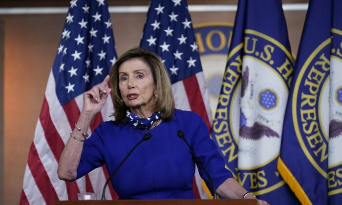 House Speaker Nancy Pelosi (D-Calif.) speaks during a news conference at the Capitol in Washington on Aug. 27, 2020. (J. Scott Applewhite/AP Photo)