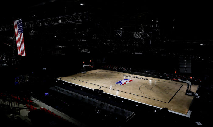 An empty arena is seen as all NBA playoff games were postponed today during the 2020 NBA Playoffs at ESPN Wide World Of Sports Complex in Lake Buena Vista, Fla., on Aug. 27, 2020. (Kevin C. Cox/Getty Images)
