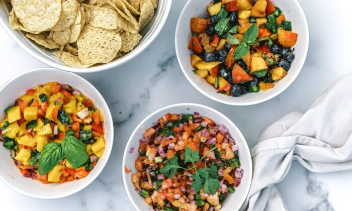 Mango-basil salsa, pico de gallo, and blueberry peach salsa with mint. (Matt Genders Photography)