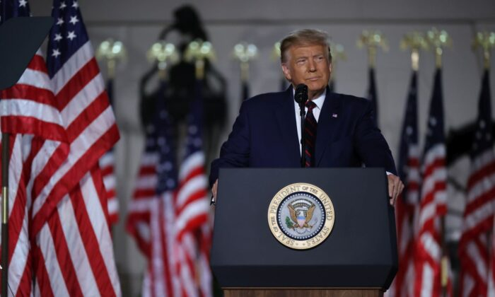 President Donald Trump delivers his acceptance speech for the Republican presidential nomination on the South Lawn of the White House August 27, 2020 in Washington, DC. Trump gave the speech in front of 1500 invited guests. (Photo by Chip Somodevilla/Getty Images)