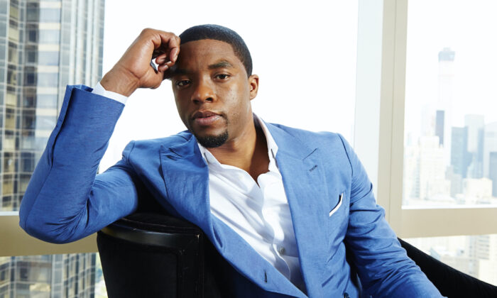 Chadwick Boseman posing for a portrait in New York on July 21, 2014. Boseman, who played Black icons Jackie Robinson and James Brown before finding fame as the regal Black Panther in the Marvel cinematic universe, has died of cancer. (Dan Hallman/Invision/AP, File)
