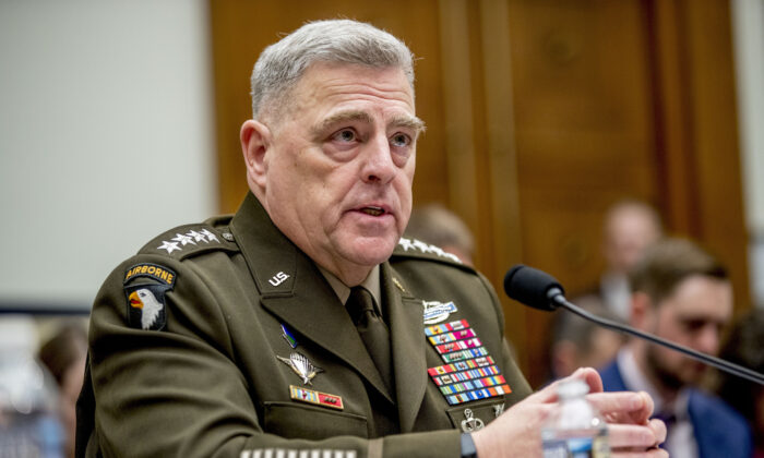 Joint Chiefs of Staff Chairman Gen. Mark Milley speaks at a House Armed Services Committee hearing on Capitol Hill in Washington on Feb. 26, 2020. (Andrew Harnik/AP Photo)