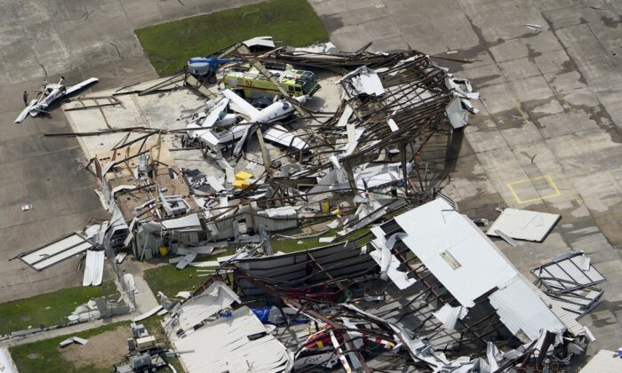 A airplane hangar is destroyed on Aug. 27, 2020, after Hurricane Laura went through the area near Lake Charles, La. (David J. Phillip/AP Photo)