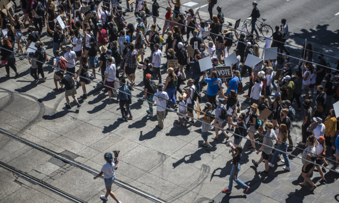 Protesters march through downtown during a Black Lives Matter rally on Aug. 28, 2020 in Portland, Oregon. (Nathan Howard/Getty Images)