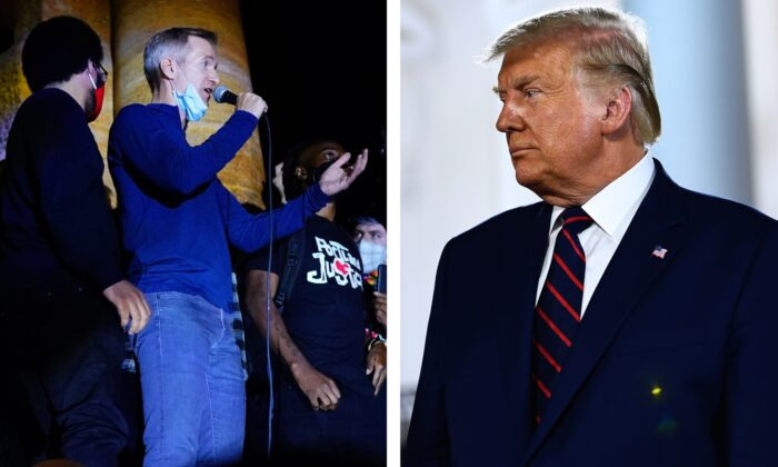 (L) Portland Mayor Ted Wheeler in Portland, Oregon, on July 22, 2020. (Nathan Howard/Getty Images); President Donald Trump   at the South Lawn of the White House in Washington, on Aug. 27, 2020. (Brendan Smialowski/AFP via Getty Images)