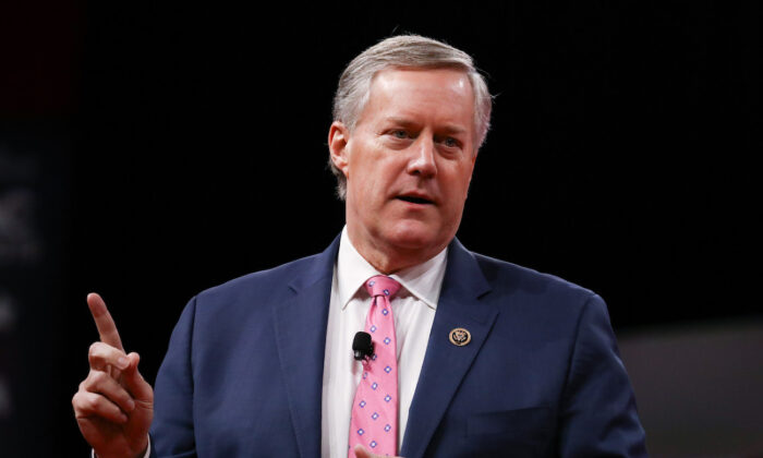 Then-Rep. Mark Meadows (R-N.C.) at the CPAC convention in National Harbor, Md., on Feb. 28, 2019. (Charlotte Cuthbertson/The Epoch Times)