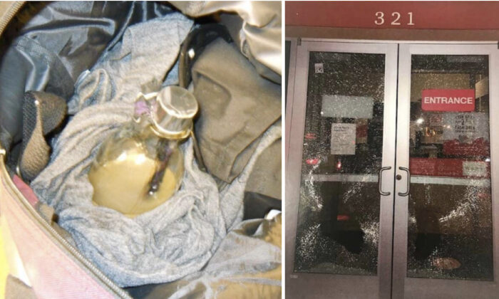 (L) Photo of a flammable device commonly known as a Molotov cocktail found in the bag of a 19-year-old teen Sami Horner. (R) Smashed windows of a bank that Seattle Police officers observed Horner smashing, in Seattle, Washington, on late Aug. 26, 2020.