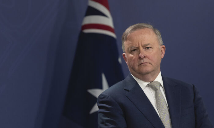 Australia's federal Labor leader Anthony Albanese speaks at a press conference with MP Chris Bowen in Sydney, Australia  on Aug. 3, 2020. (Brook Mitchell/Getty Images)