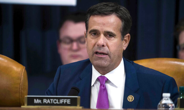 Then-Rep. John Ratcliffe (R-Texas) questions Intelligence Committee Minority Counsel Stephen Castor and Intelligence Committee Majority Counsel Daniel Goldman during the House impeachment inquiry hearings in Washington on Dec. 9, 2019. (Doug Mills/The New York Times via AP)