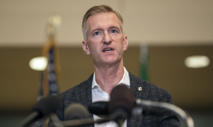 Portland Mayor Ted Wheeler speaks to the media at City Hall in Portland, Ore., on Aug. 30, 2020. (Nathan Howard/Getty Images)