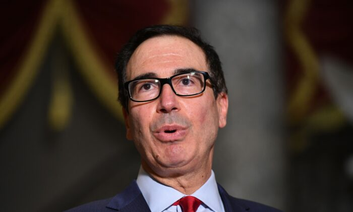 U.S. Treasury Secretary Steve Mnuchin speaks to the media after meeting with the U.S. Senate Minority Leader and House Speaker on coronavirus relief at the U.S. Capitol in Washington, D.C. on Aug. 7, 2020. (MANDEL NGAN/AFP via Getty Images)