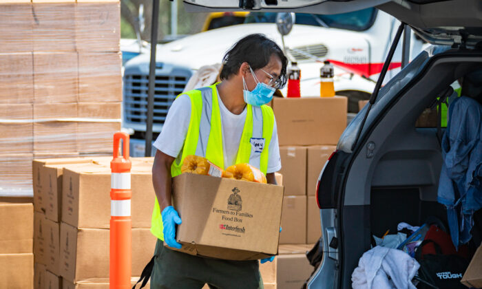A Saddleback Church volunteer works in 100-degree heat loading donated groceries into a vehicle at a pop-up food donation site at Savanna High School in Anaheim, Calif., on Aug. 18, 2020. (John Fredricks/The Epoch Times)
