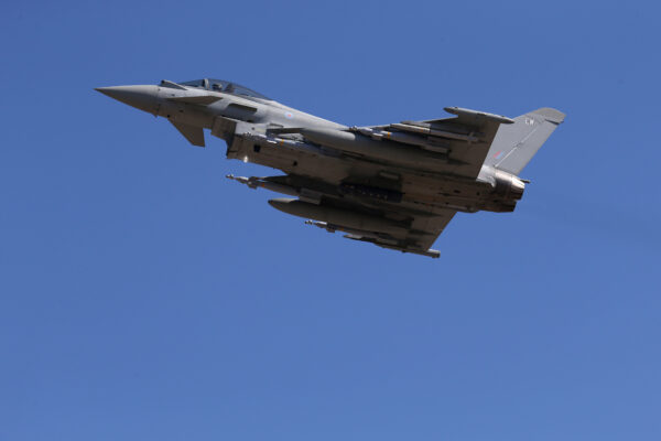 A British Royal Air Force Eurofighter Typhoon fighter jet taking off from RAF's Akrotiri base in Cyprus