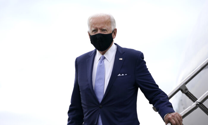 Democratic presidential candidate Joe Biden arrives at the Allegheny County Airport, en route to speak at a campaign event in Pittsburgh, Penn., on Aug. 31, 2020. (Carolyn Kaster/AP Photo)