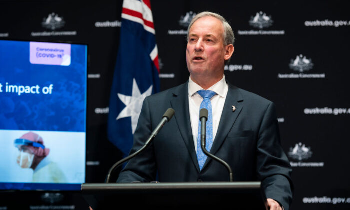 Australian Aged Care Minister Richard Colbeck speaks at a press conference alongside Prime Minister Scott Morrison on May 01, 2020 at Parliament House in Canberra, Australia.  (Rohan Thomson/Getty Images)