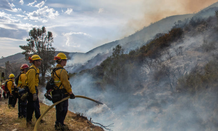 Firefighters look for hotspots from the Lake Fire by Lake Hughes, 60 miles north of Los Angeles, Calif., on Aug. 15, 2020. (Apu Gomes/AFP via Getty Images)