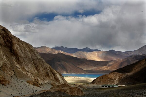 Pangong Tso lake is seen near the India China border