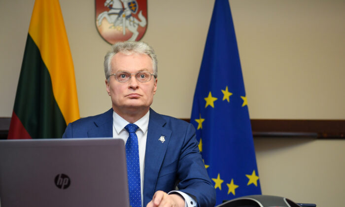 Lithuanian President Gitanas Nauseda attends a European Union leaders video conference, in Vilnius, Lithuania, on April 23, 2020. (Office of the President of the Republic of Lithuania/Robertas Dackus/Handout via Reuters)