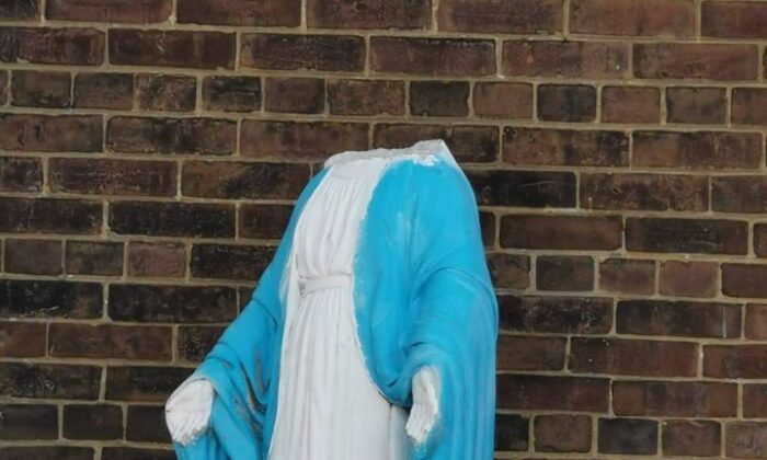 A headless statue of the Virgin Mary is seen outside the Our Lady of Lebanon church in Parkdale, Toronto, on Aug. 30, 2020. (Facebook)