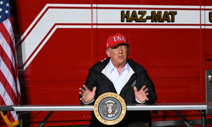 President Donald Trump speaks to first responders and other officials at a fire station in Lake Charles, La., on Aug. 28, 2020. (Roberto Schmidt/AFP via Getty Images)