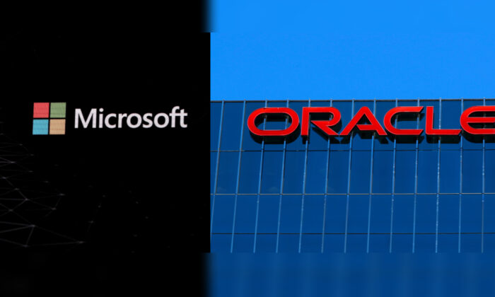 Collage of the Microsoft logo is pictured ahead of the Mobile World Congress in Barcelona, Spain, on Feb. 24, 2019 (Sergio Perez/Reuters) and the Oracle logo is shown on an office building in Irvine, Calif., on June 28, 2018. (Mike Blake/Reuters)