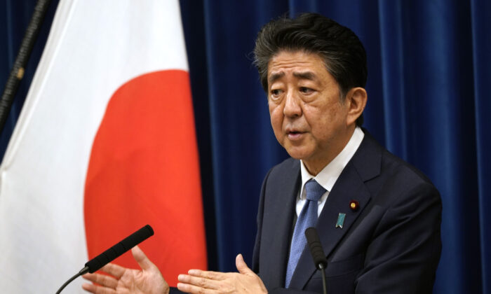 Japanese Prime Minister Shinzo Abe speaks during a press conference at the prime minister official residence on Aug. 28, 2020 in Tokyo, Japan. (Franck Robichon - Pool/Getty Images)
