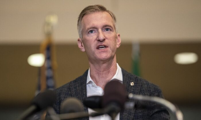 Mayor Ted Wheeler speaks to the media at City Hall in Portland, Ore., on Aug. 30, 2020. (Nathan Howard/Getty Images)