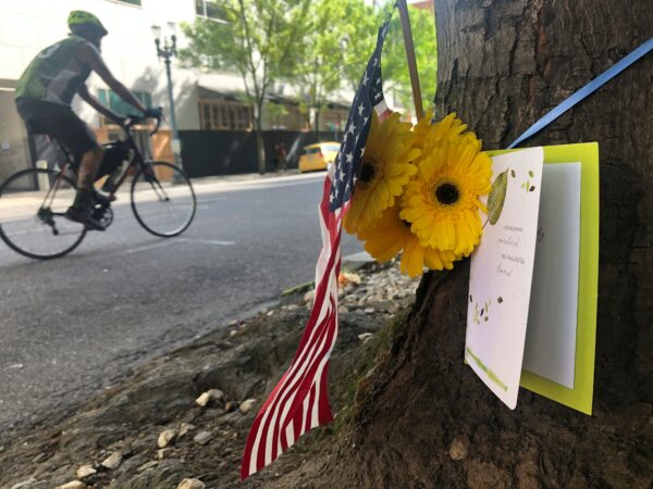 A small memorial to the fatal shooting victim