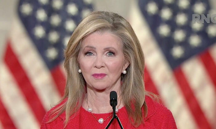 In this screenshot from the RNC's livestream of the 2020 Republican National Convention, Sen. Marsha Blackburn (R-Tenn.) addresses the virtual convention on Aug. 26, 2020. (Courtesy of the Committee on Arrangements for the 2020 Republican National Committee via Getty Images)