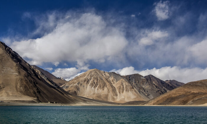 Mountains rise over the Pangong Lake near Leh in Ladakh, India, on Oct. 5, 2012. (Daniel Berehulak/Getty Images)